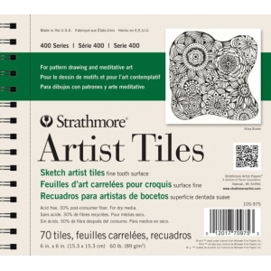 "Strathmore® 6"" x 6"" Sketch Artist Tiles: White/Ivory, Tile, 70 Tiles, 6"" x 6"", Fine Tooth, Sketching, 60 lb, (model ST105-975), price per 70 Tiles pad"
