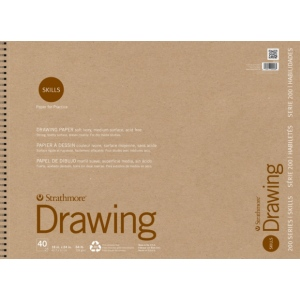 "Strathmore® 200 Series Skills 18"" x 24"" Wire Bound Drawing Pad; Color: White/Ivory; Format: Pad; Quantity: 40 Sheets; Size: 18"" x 24""; Type: Drawing; (model ST20-028), price per 40 Sheets pad"