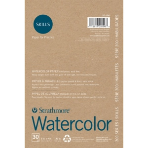 """Strathmore® 200 Series Skills 6"""" x 9"""" Tape Bound Watercolor Pad; Color: White/Ivory; Format: Pad; Quantity: 30 Sheets; Size: 6"""" x 9""""; Type: Watercolor; (model ST20-106), price per 30 Sheets pad"""