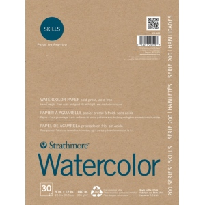 """Strathmore® 200 Series Skills 9"""" x 12"""" Tape Bound Watercolor Pad; Color: White/Ivory; Format: Pad; Quantity: 30 Sheets; Size: 9"""" x 12""""; Type: Watercolor; (model ST20-109), price per 30 Sheets pad"""