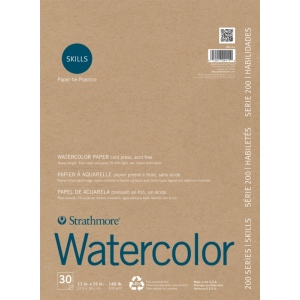 """Strathmore® 200 Series Skills 11"""" x 15"""" Tape Bound Watercolor Pad: White/Ivory, Pad, 30 Sheets, 11"""" x 15"""", Watercolor, (model ST20-111), price per 30 Sheets pad"""