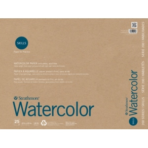 """Strathmore® 200 Series Skills 18"""" x 24"""" Tape Bound Watercolor Pad: White/Ivory, Pad, 25 Sheets, 18"""" x 24"""", Watercolor, (model ST20-118), price per 25 Sheets pad"""