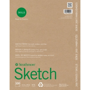 "Strathmore® 200 Series Skills 11"" x 14"" Glue Bound Sketch Pad: White/Ivory, Pad, 100 Sheets, 11"" x 14"", Sketching, (model ST20-521), price per 100 Sheets pad"