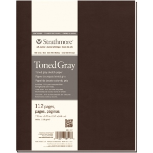 "Strathmore® 400 Series Soft Cover Toned Gray Sketch Journal 7.75"" x 9.75"": Sewn Bound, Black/Gray, Journal, 112 Pages, 7 3/4"" x 9 3/4"", Medium, Sketching, 80 lb, (model ST481-107), price per each"