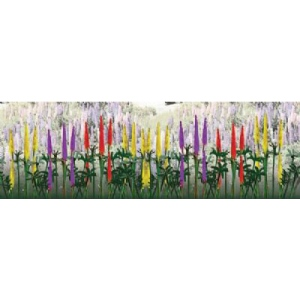 "Wee Scapes™ Architectural Model Lupines; Color: Green; Coverage: 150 sq in; Material: Poly Fiber, Turf; Quantity: 3-Pack; Size: 1/2""; Type: Flowers; (model WS00356), price per 3-Pack"