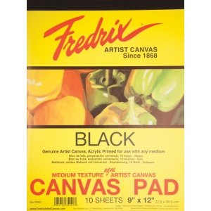 "Fredrix® 9"" x 12"" Black Canvas Pad; Color: Black/Gray; Format: Pad; Size: 9"" x 12""; Type: Primed; (model T35001), price per pad"