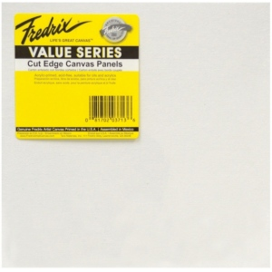 """Fredrix® Value Series Cut Edge 12"""" x 12"""" Canvas Panels 25-Pack; Color: White/Ivory; Format: Panel; Size: 12"""" x 12""""; Type: Acrylic; (model T3741), price per pack"""