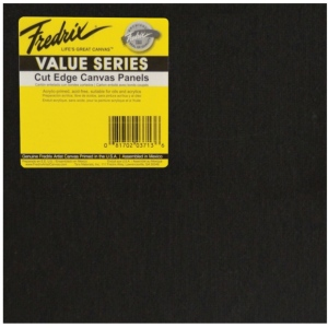 "Fredrix® Value Series Cut Edge 12"" x 12"" Canvas Panels 6-Pack; Color: Black/Gray; Format: Panel; Size: 12"" x 12""; Type: Acrylic; (model T37371), price per pack"