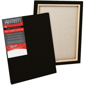 "Fredrix® Artist Series Red Label Red Label 11"" x 14"" Standard Stretched Black Canvas; Color: Black/Gray; Format: Panel; Material: Gesso; Size: 11"" x 14""; Stretcher Bar Depth: 11/16""; Stretcher Strips: 11/16"" x 1 9/16""; Type: Stretched; (model T50179), price per each"
