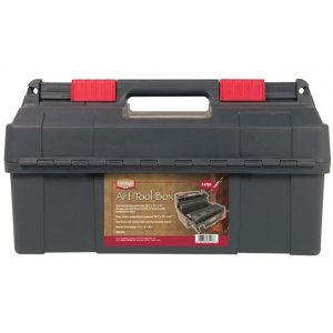 "Heritage Arts™ Large Art Tool Box 17 3/4"" x 9"" x 9 1/2""; Color: Black/Gray; Material: Plastic; Size: 9""l x 17 3/4""w x 9 1/2""h; Type: Storage Box; (model HPB1809), price per each"