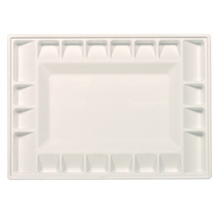 """Heritage Arts™ 21-Well Heavy-Duty Plastic Classic Platform Palette: White/Ivory, Plastic, 21 Wells, Rectangle, 9 3/8"""" x 13 1/4"""", Tray, (model HPP913-21C), price per each"""