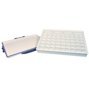 "Heritage Arts™ 58-Well Heavy-Duty Plastic Platform Palette: White/Ivory, Cover, Plastic, 58 Wells, Rectangle, 9 3/4"" x 13 1/2"", Tray, (model HPP913-58), price per each"