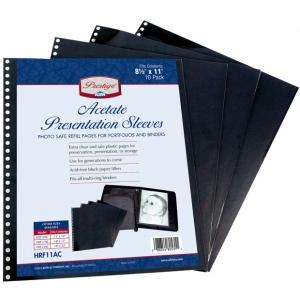 "Prestige™ Acetate Presentation Sleeves 14 x 17; Color: Black/Gray; Material: Acetate; Size: 14"" x 17""; (model HRF17AC), price per pack"