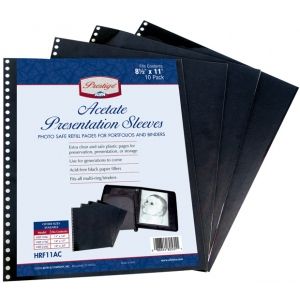 "Prestige™ Acetate Presentation Sleeves 18 x 24; Color: Black/Gray; Material: Acetate; Size: 18"" x 24""; (model HRF24AC), price per pack"