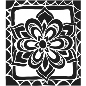 "The Crafter's Workshop 6"" x 6"" Journal and Design Template Zen Flower: 6"" x 6"", Patterned Stencil, (model TCW466S), price per each"