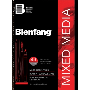 "Bienfang® 9"" x 12"" Mixed Media Paper Pad; Binding: Wire Bound; Color: White/Ivory; Format: Pad; Size: 9"" x 12""; Texture: Fine; Weight: 90 lb; (model 220101), price per pad"