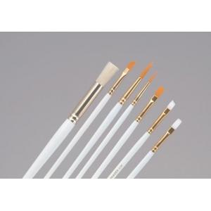 Princeton™ White Bristle Brush Set Oil and Acrylic Round 6 Bright 8 Flat 10: Bristle, Bright, Flat, Round, Acrylic, Tempera, Watercolor, (model 9311), price per set
