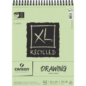 "Canson® XL® 11"" x 14"" Recycled Drawing Pad (Top Wire): Wire Bound, White/Ivory, Pad, 60 Sheets, 11"" x 14"", Smooth, (model C100510916), price per 60 Sheets pad"