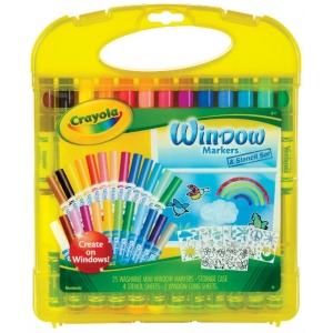 Crayola® Washable Window Markers & Stencil Set; Type: Washable; (model 04-5229), price per set