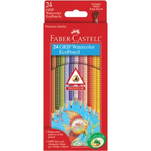 Faber-Castell® GRIP 24 Watercolor EcoPencils; Format: Pencil; Type: Watercolor; (model FC9121224), price per set