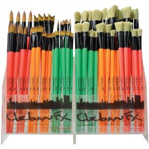Dynasty® Urban FX Synthetic and Bristle Urban Art Brush Display Assortment: Long Handle, Urban Art, (model FM35345D), price per each