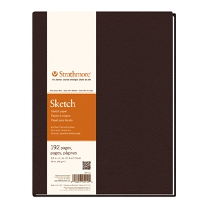 """Strathmore® 400 Series 8.5 x 11.5 Hardbound Sketch Book; Color: White/Ivory; Format: Book; Quantity: 192 Sheets; Size: 8 1/2"""" x 11 1/2""""; Type: Hardbound Sketch; Weight: 60 lb; (model ST297-012), price per each"""