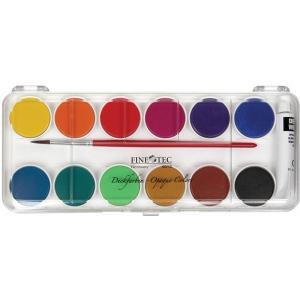 Finetec Opaque Watercolor Paint 12-Color Set With Plastic Lid: Multi, Pan, Watercolor, (model FW6012), price per set