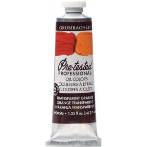 Grumbacher® Pre-Tested® Artists' Oil Color Paint 37ml Transparent Orange; Color: Orange; Format: Tube; Size: 37 ml; Type: Oil; (model GBP005GB), price per tube
