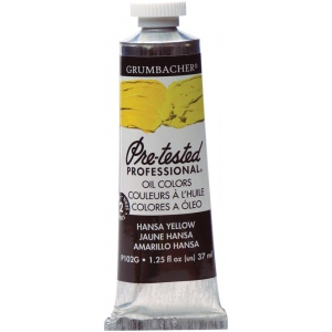 Grumbacher® Pre-Tested® Artists' Oil Color Paint 37ml Hansa Yellow; Color: Yellow; Format: Tube; Size: 37 ml; Type: Oil; (model GBP102GB), price per tube