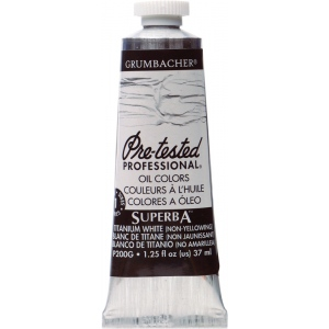 Grumbacher® Pre-Tested® Artists' Oil Color Paint 37ml Superba White; Color: White/Ivory; Format: Tube; Size: 37 ml; Type: Oil; (model GBP200GB), price per tube