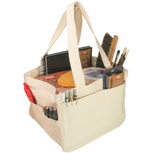 """Heritage Arts™ Deluxe Art Tote; Color: White/Ivory; Material: Cotton; Size: 12""""l x 12""""w x 9 3/4""""h; (model HDAT1212), price per each"""