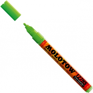 MOLOTOW™ 2mm Fine Tip Acrylic Pump Marker Neon Green Fluorescent; Color: Green; Ink Type: Paint; Refillable: Yes; Tip Size: 2mm; Type: Paint Marker; (model M127232), price per each