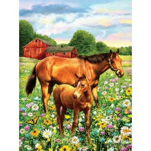 "Royal & Langnickel® Painting by Numbers™ 8 3/4 x 11 3/8 Junior Small Set Horses In Field; Board Size: 8 3/4"" x 11 3/8""; (model PJS81), price per set"