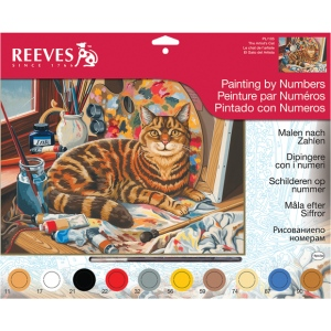 "Reeves™ Large Acrylic Painting By Numbers Set Resting Cat: 12"" x 15 1/2"", (model PL105), price per each"