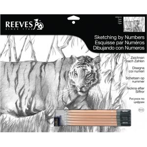 "Reeves™ Large Sketching By Numbers Tiger: Black/Gray, 12"" x 15"", (model PPSK10), price per each"