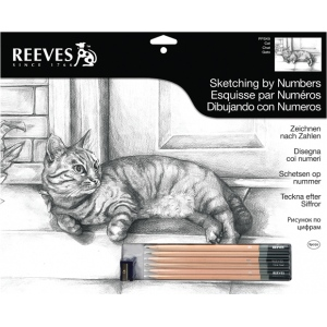 "Reeves™ Large Sketching By Numbers Cat: Black/Gray, 12"" x 15"", (model PPSK9), price per each"