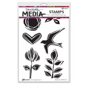 Ranger - Dina Wakley Media - Cling Stamps - Woodcuts