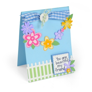 Sizzix - Framelits Die Set - 15 Pack with Stamps - Flowers & Fence