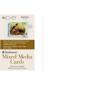 "Strathmore® Mixed Media Full Size Cards 50-Pack; Color: White/Ivory; Format: Card; Quantity: 50 Cards; Size: 5"" x 6 7/8""; Type: Mixed Media; Weight: 140 lb; (model ST105-262), price per 50 Cards"