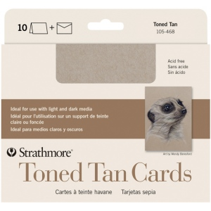 "Strathmore® Toned Tan Sketch Cards: White/Ivory, Card, 5"" x 6 7/8"", Card, 80 lb, (model ST105-468), price per pack"