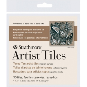 "Strathmore® Toned Tan Sketch Artist Tiles; Color: White/Ivory; Format: Tile; Size: 4"" x 4""; Type: Tile; Weight: 80 lb; (model ST105-977), price per pack"