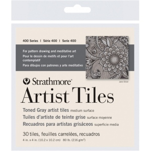 "Strathmore® Toned Gray Sketch Artist Tiles; Color: Black/Gray; Format: Tile; Size: 4"" x 4""; Type: Tile; Weight: 80 lb; (model ST105-978), price per pack"