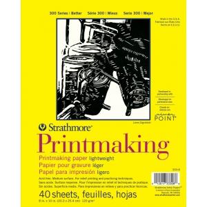 "Strathmore® 300 Series 8"" x 10"" Lightweight Printmaking Paper Pad: White/Ivory, Sheet, 8"" x 10"", (model ST333-8), price per pad"