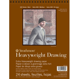 """Strathmore® 400 Series 8"""" x 10"""" Heavyweight Drawing Pad; Binding: Wire Bound; Color: White/Ivory; Format: Pad; Quantity: 24 Sheets; Size: 8"""" x 10""""; Texture: Medium; Type: Drawing; Weight: 100 lb; (model ST400-208), price per 24 Sheets pad"""