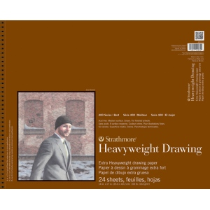 "Strathmore® 400 Series 14"" x 17"" Heavyweight Drawing Pad; Binding: Wire Bound; Color: White/Ivory; Format: Pad; Quantity: 24 Sheets; Size: 14"" x 17""; Texture: Medium; Type: Drawing; Weight: 100 lb; (model ST400-214), price per 24 Sheets pad"