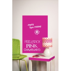 "Wallies® 25"" x 38"" Peel and Stick Chalkboard Sheet Neon Pink; Color: Red/Pink; Size: 25"" x 38""; Type: Chalkboard; (model WALL16052), price per each"