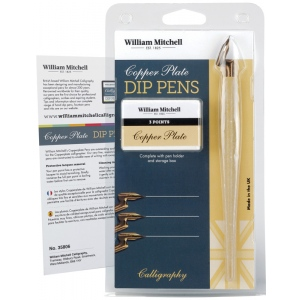William Mitchell Copperplate Dip Pen Set; Nibs Included: Yes; Pen Holder: Yes; Tip Size: Assorted; Tip Type: Copperplate Nib; Type: Pen Holder & Nib Sets; (model WM35806), price per set