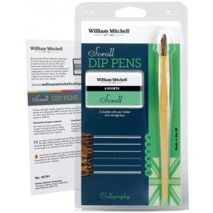 William Mitchell Scroll Dip Pen Set; Nibs Included: Yes; Pen Holder: Yes; Tip Size: Assorted; Tip Type: Scroll Nib; Type: Pen Holder & Nib Sets; (model WM35791), price per set