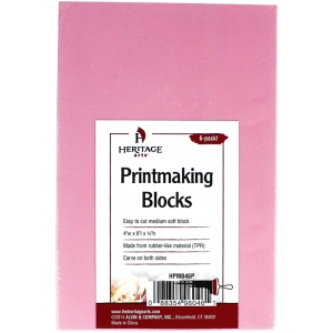 "Heritage Arts™ Traditional Pink Printmaking Blocks 6-Pack: Red/Pink, Double-Sided, No, 4"" x 6"", 1/3"", Block, (model HPMB46P), price per pack"