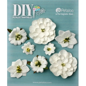 Petaloo - DIY Paintables - Mixed Blossoms x 8 - White